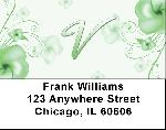 Floral Monogram V Address Labels