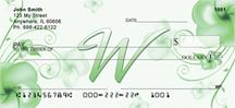 Monogram Letter W Pretty Floral Checks