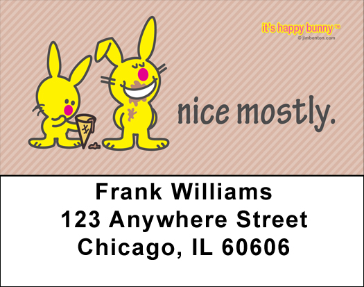 It's Happy Bunny Nice Mostly Address Labels