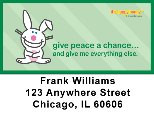 It's Happy Bunny Peace Address Labels