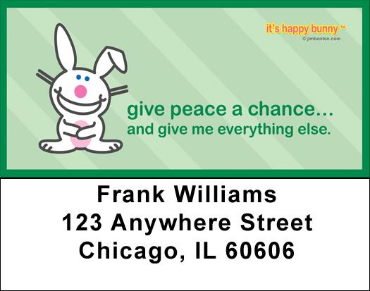 It's Happy Bunny Peace Address Labels
