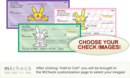 MiCheck It's Happy Bunny Personal Checks $ 12.99