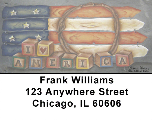 Americana Picket Flag Address Labels by Lorrie Weber