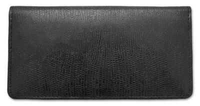 Black Snakeskin Leather Checkbook Cover