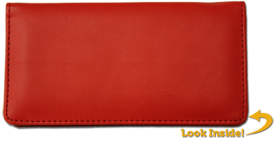 Red Leather Checkbook Cover