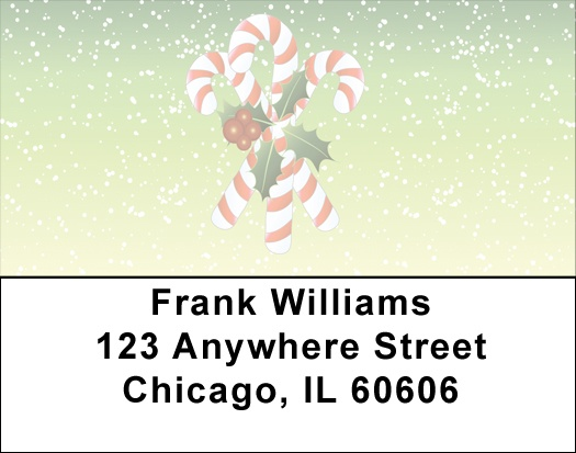 Christmas Candy Canes Address Labels