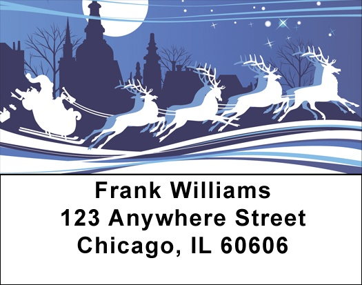 Santa`s Blue Christmas Address Labels