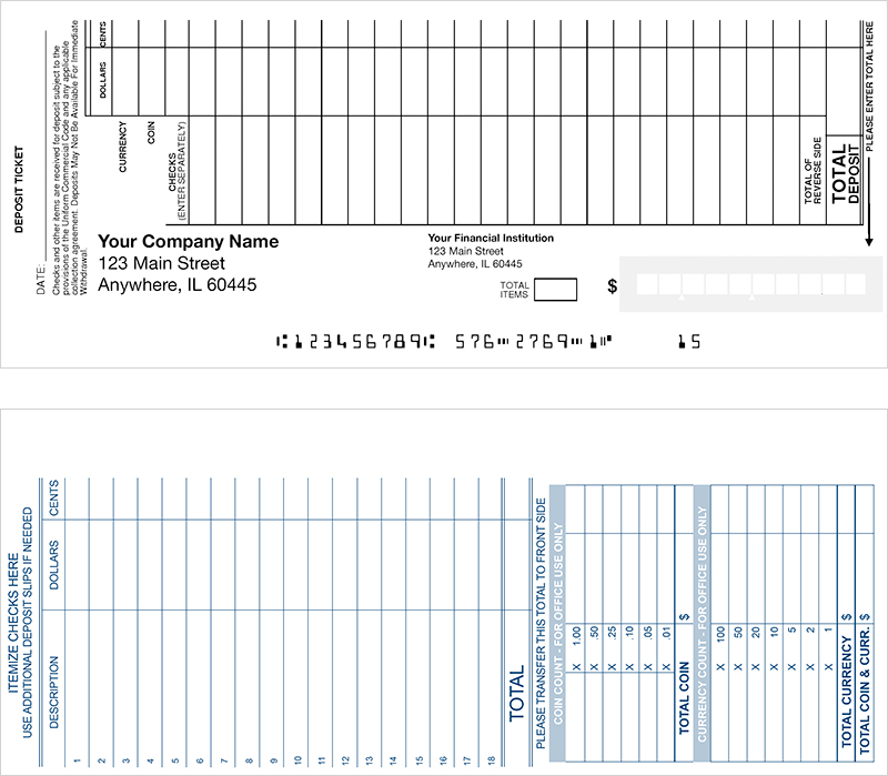 Loose Business Deposit Slips Style 1