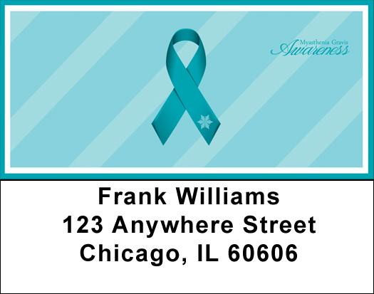 Myasthenia Gravis Teal Awareness Ribbon Address Labels