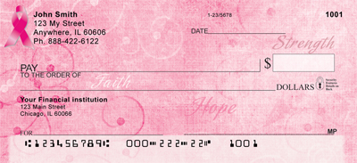 Pink Ribbon Faith, Hope & Strength Personal Checks