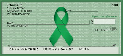 Depression Awareness Green Ribbon Personal Checks