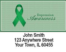 Green Depression Awareness Ribbon Address Labels