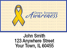 Yellow Down Syndrome Awareness Ribbon Address Labels