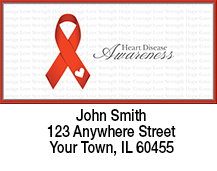 Heart Disease Red Awareness Ribbon Address Labels