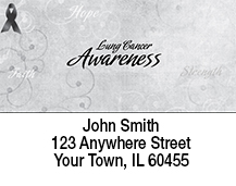 Faith Hope Strength Lung Cancer Awareness Ribbon Address Labels