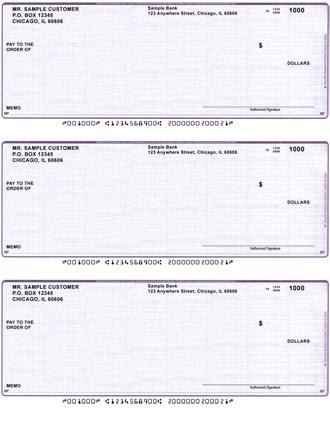 Violet Safety 3 Per Page Laser Checks
