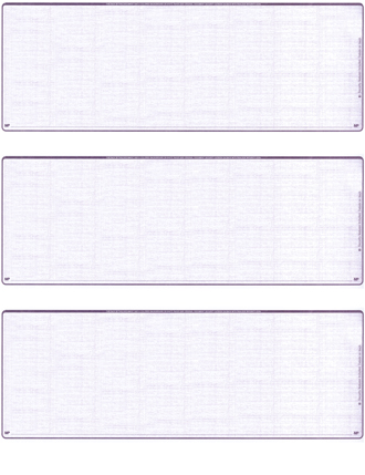 Violet Safety Blank 3 Per Page Laser Checks