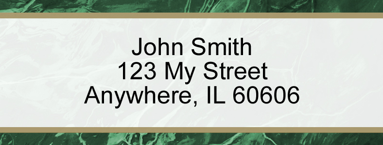 Green Marble Rectangle Address Label