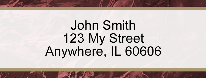 Burgundy Marble Rectangle Address Label