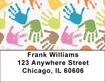 Kids Hand Prints Address Labels