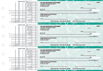 Teal Marble 3 to a Page Business Checks