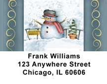 Snowman - Snowflake Holiday Address Labels by Lorrie Weber