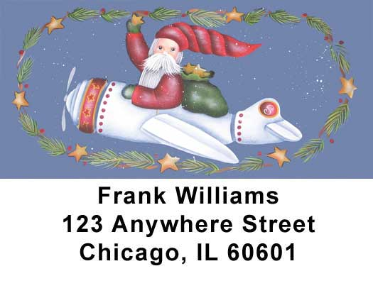 Santa's on the Way Address Labels by Lorrie Weber