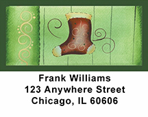 Swirl Tree & Stocking Address Labels by Lorrie Weber