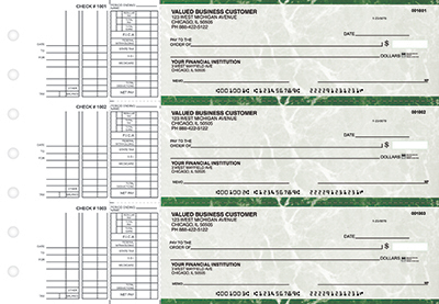 Green Marble 3 to a Page Business Checks
