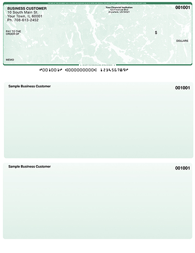 Green Marble Laser Business One Per Page Voucher Checks - Top Style