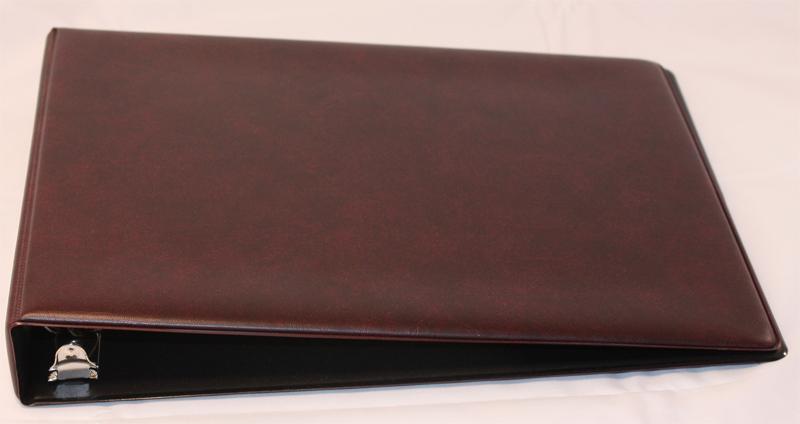 Business Cheque Book Covers : Burgundy deskset binder