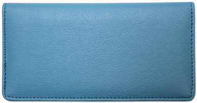 Light Blue Leather Checkbook Cover