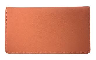 Orange Leather Checkbook Cover