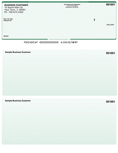 Green Safety Laser Business One Per Page Voucher Checks - Top Style