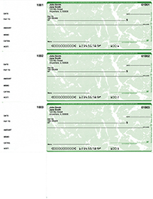 Green Marble Personal Size 3 Per Page Laser Checks