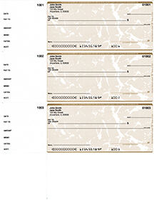 Tan Marble Personal Size 3 Per Page Laser Checks