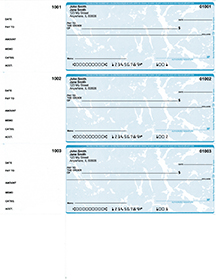 Teal Marble 3 Per Page Wallet Checks