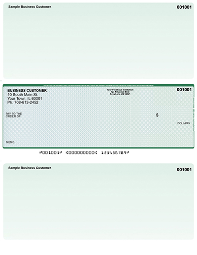 Blue Green Prizmatic Laser One Per Page Voucher Checks - Middle Style