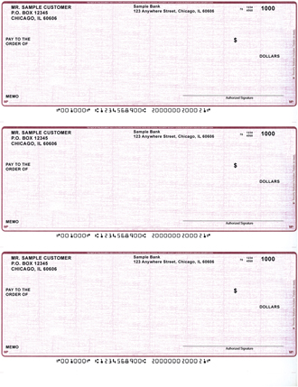 Burgundy Safety Business Laser - Inkjet Checks - 3 To A Page