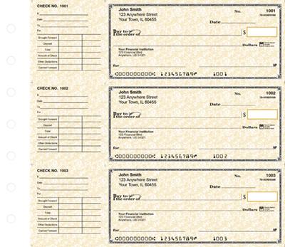 Deskset Tan Parchment Personal Checks