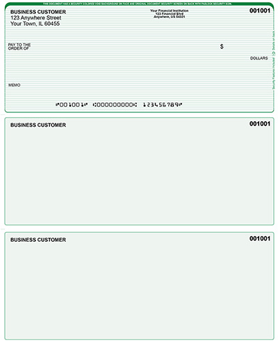 Green Lines Laser Business One Per Page Voucher Checks - Top Style