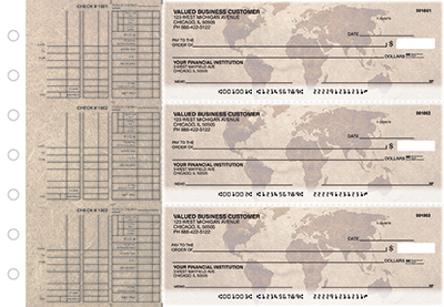 Business Checks Store -  World Map Multi Purpose Designer Business Checks