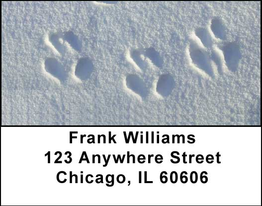 Animal Prints in the Snow Address Labels