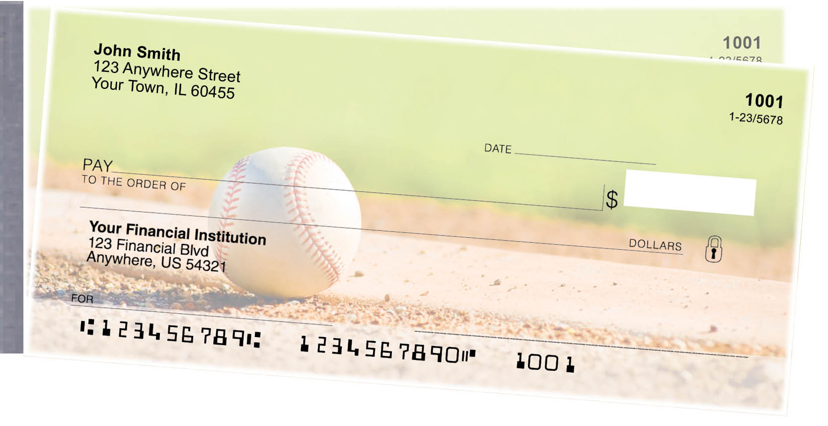 Baseball Side Tear Personal Checks