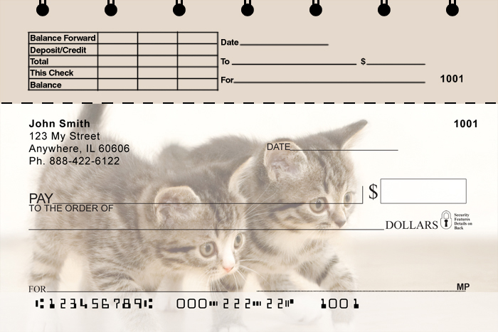 Cute Kittens Top Stub Personal Checks