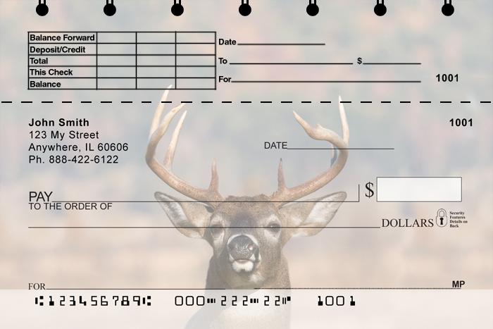 Big Horned Buck Deer Top Stub Personal Checks