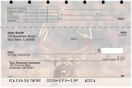 Big Horned Buck Deers Top Stub Personal Checks