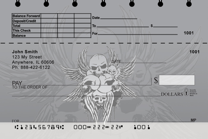 Stylish Skulls Top Stub Personal Checks