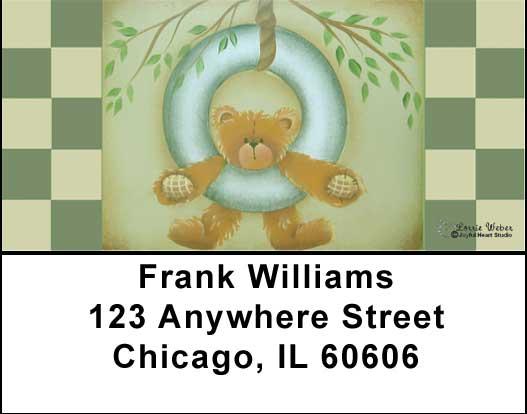 Tire Swing Teddy Address Labels by Lorrie Weber