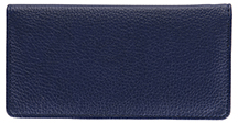 Navy Side Tear Leather Checlbook Cover